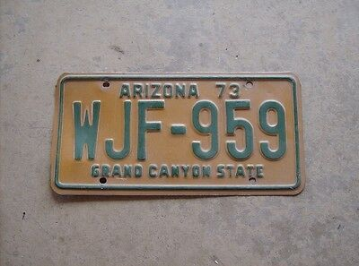 Grand Canyon State of Arizona 1973 license plate WJF-959 good condition expired