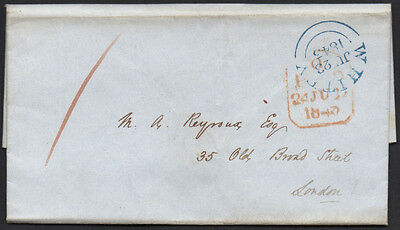 1843, stampless entire from Whitby (blue CDS), Yorks to London.