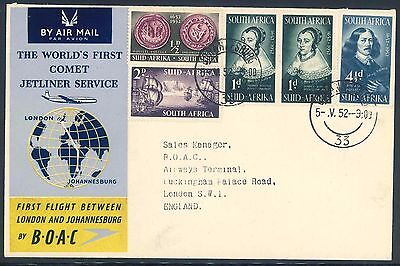 BOAC 1952 Comet Jetliner First Flight Cover from South Africa to England