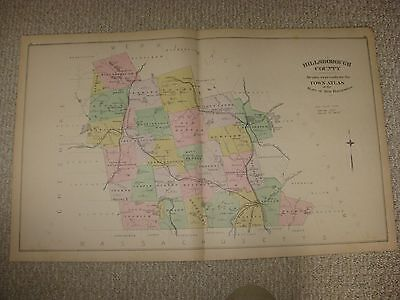 Antique 1892 Hillsborough County & Manchester New Hampshire Handcolored Map Rare