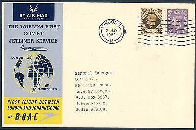 BOAC 1952 Comet Jetliner First Flight Cover from England to South Africa
