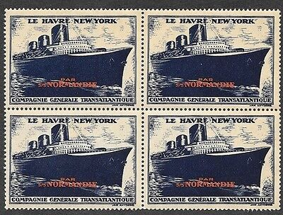 Ss Normandie S/s French Line, Poster Stamps, Cinderella, 1935, Block Of 4
