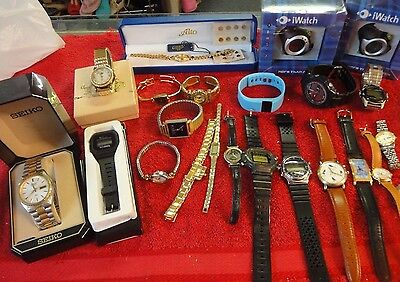 22 lot Watches needs batteries or repair Kirks folly Timex Seiko Disney iwatch +