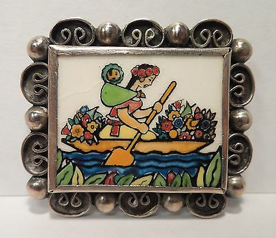 Vintage Little Silver Shop Mexico Sterling Silver Enamel Lady & Baby Brooch Pin