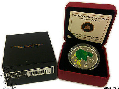 Canada: 2010 $20 Maple Leaf with Crystal Raindrop Silver Coin