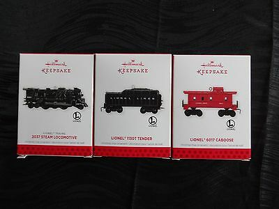 Hallmark Keepsake Ornaments, Lionel 2037 Locomotive, 6017 Caboose, 1130T Tender