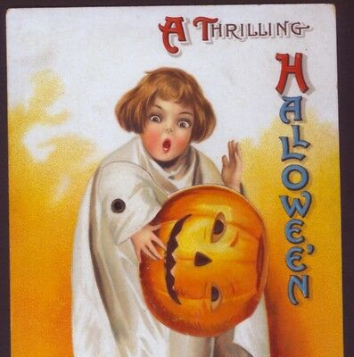 Scarce ! Clapsaddle Halloween Ghost Child With Mechanical Arm,vintage Postcard