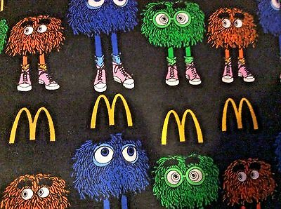 2 yards Mcdonalds Characters on Black FLANNEL Fabric