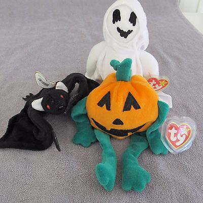 3 Ty Beanie Babies Plush Halloween Theme Sheets Ghost Radar Bat Pumpkin w/ tags