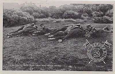 British Army 5th Lancers (Royal Irish) Firing over Trained Horses 1908 G.D.&D.