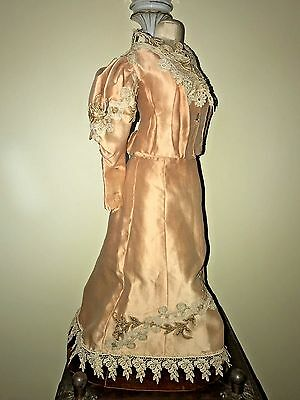 Spectacular Antique Doll French Fashion Taffeta Lace Dress 3-Piece Embroidered