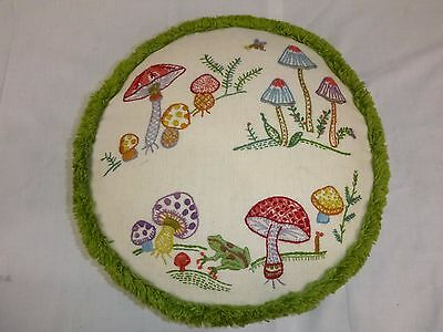 Vtg 70s Crewel Embroidery MOD Round Fringed Mushrooms Frog Motif Throw Pillow