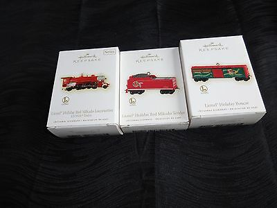 Hallmark Keepsake Ornaments, Lionel Red Mikado Engine, Tender, Holiday Boxcar