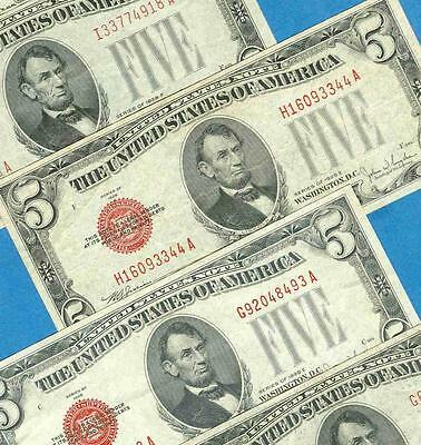 5-$5.00 1928-E + F Series Red Seal United States Notes  Attractive Vf