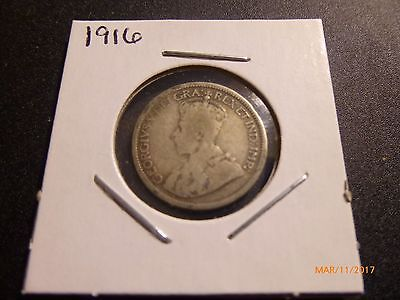 1916 Canada, George V, 10 Cents Silver Coin