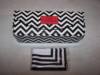 Lulu Guinness ZIG ZAG Patent Leather Sunglasses Case BLACK/WHITE/RED ~ NWOT