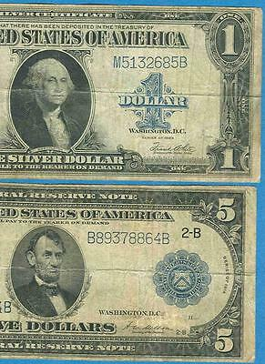 $1.00 1923 Silver Certificate  And $5.00 1914 Frn Average Circulated  Pair