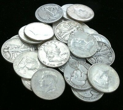 Lot of (10) WALKING LIBERTY, FRANKLIN and 1964 KENNEDY 90% Silver Half Dollars