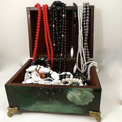 Lot Beads 11 Necklaces & Hand Painted Jewelry Box