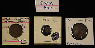 3 piece circulated mixed coin lot from India