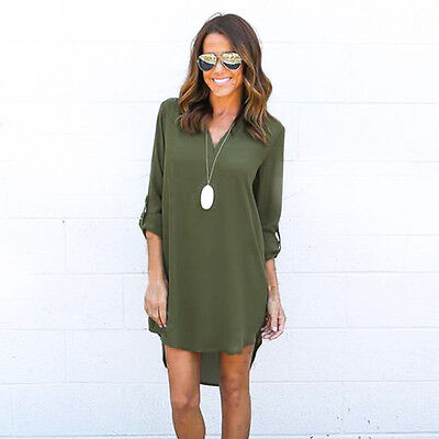 Ladies Womens Chiffon Baggy Long Sleeve Loose Casual Blouse Top Tee Shirt Dress