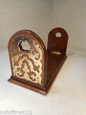 Antique Walnut  Extending Book Slide , Book Ends     ,  ref 2615