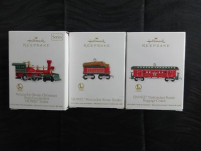 Hallmark Keepsake Lionel Ornaments, Nutcracker Christmas Engine, Tender, Baggage