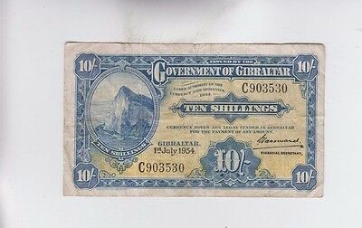 Gibralter Paper Money one old note f-vf