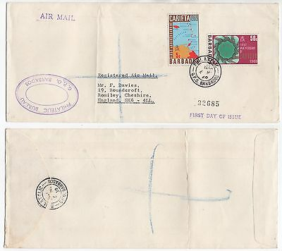 1969 BARBADOS Registered Air Mail First Day Cover GPO To ROMILEY UK Maps