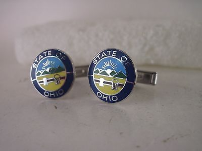 Ohio state    Seal cloisonne   pair cufflinks ( 4my6 1 )