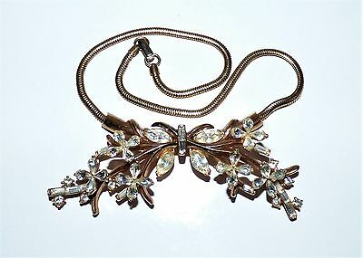 Vintage Trifari Alfred Philippe Bib Necklace Paste Flower Spray  Necklace Signed