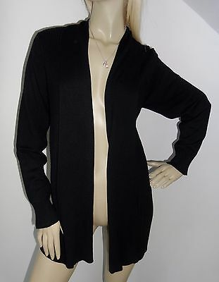Bnwt!!!   Black Long Line Ribbed Cardigan.   Size 16.