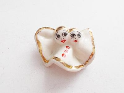 Vintage 1940's White Porcelain Hand Painted Faces Brooch - Made In Italy