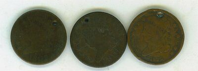 3 Different Date Us 1/2 Cents 1809,1810 And 1832-Cheap-L@@k