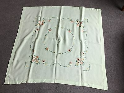 "Vintage Hand Embroidered Tablecloth 38"" x 40"""