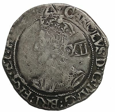 England Charles I Silver Shilling Tower Mint S.2799 MM Triangle Hammered Coin