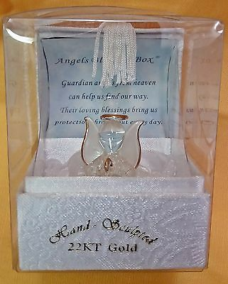 Hand Sculpted Crystal 22KT Gold Angels Blessing Box