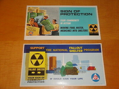 Two Atomic Age Cold War Civil Defense Fallout Shelter Posters  Near Mint Cond