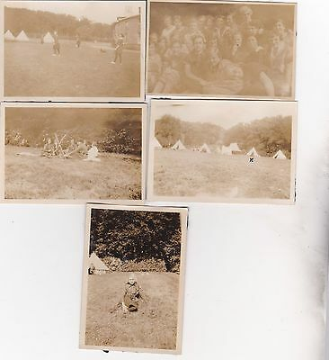 5 Old Photo Young Women Girl Guides Uniform Camping Tents Children 1920S Nb2
