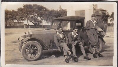 Old Photo Handsome Young Men Plus Fours Vintage Car Fashion 1920S Nb1