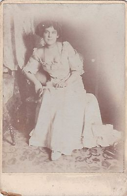Unusual Old Photo Cabinet Card Beautiful Woman Glamour Fashion Dress Risque