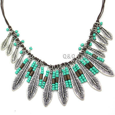 Vintage Silver Leaf Feather Turquoise Bead Navajo Zuni Leather Chain Necklace K8
