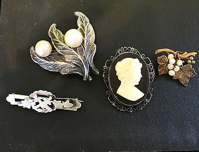Victorian Silver sweetheart brooch and others