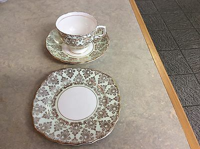 vintage china harlequin mint green tea trio patt no 7181
