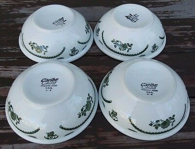 CARIBE CHINA - VINTAGE RESTAURANT WARE TRANSFERWARE CEREAL BOWLS - SET of 4