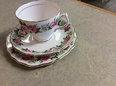 colclough enchantment vintage china tea set trio pink floral