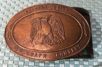 Vintage Western Union Telegraph Co. Lewis Buckles Chicago Belt Buckle #A122
