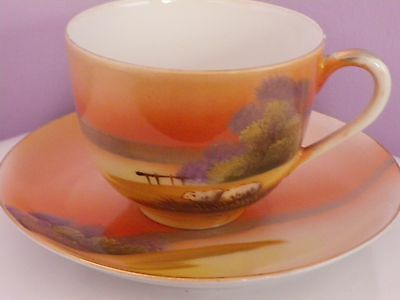 Fabulous  Vintage Japanese Noritake Porcelain Sheep By Lake Design Cup & Saucer