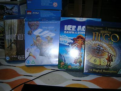 Small Collection Job Let Of Childrens Blu Rays. Hugo, Up, Ice Age 3 Etc