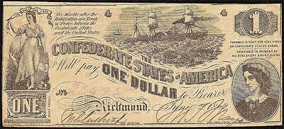 1862 $1 Dollar Bill Confederate States Lucy Pickens Civil War Note T-44